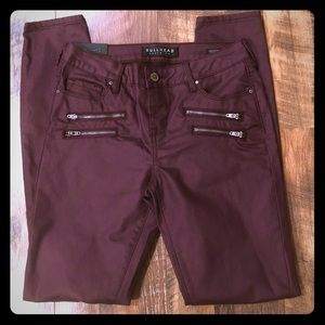 BULLHEAD Destroyed Mid-Rise Skinniest Wine Jeans